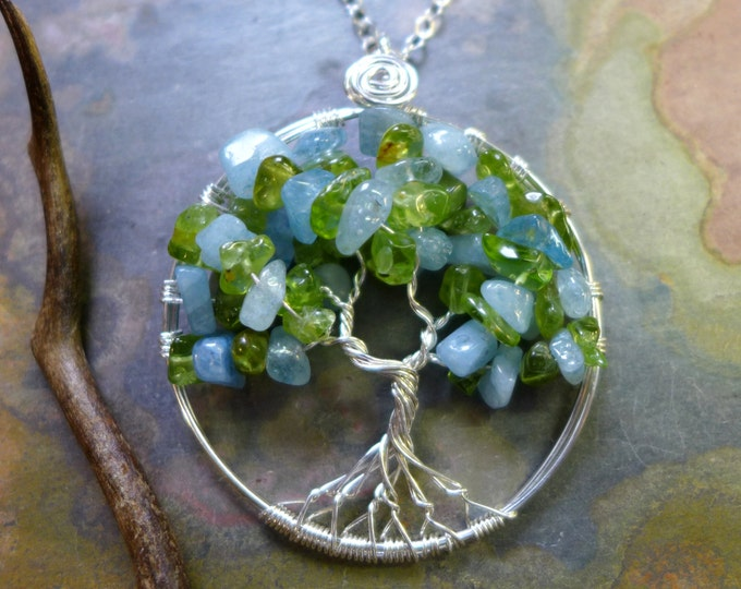 Tree of Life Pendant with Sterling Silver Chain- Aquamarine/Peridot Gemstone Tree of Life Pendant Necklace- March Birthstone, March Birthday
