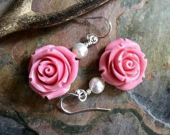 Flower Earrings in Sterling Silver Earwires,Pink Rose Flower Pearl drop Earrings, Bridesmaid/Bridal Pink Flower Earrings, Botanical Earrings