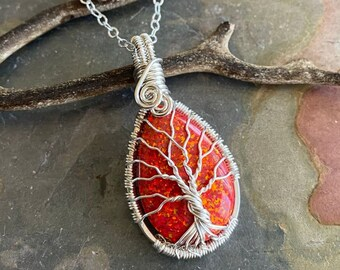 Opal Necklace, Red Opal Necklace,Opal Silver Pendant, October Birthstone,Opal Tree of Life Necklace in Fine Silver, Opal Gift for her,Opal