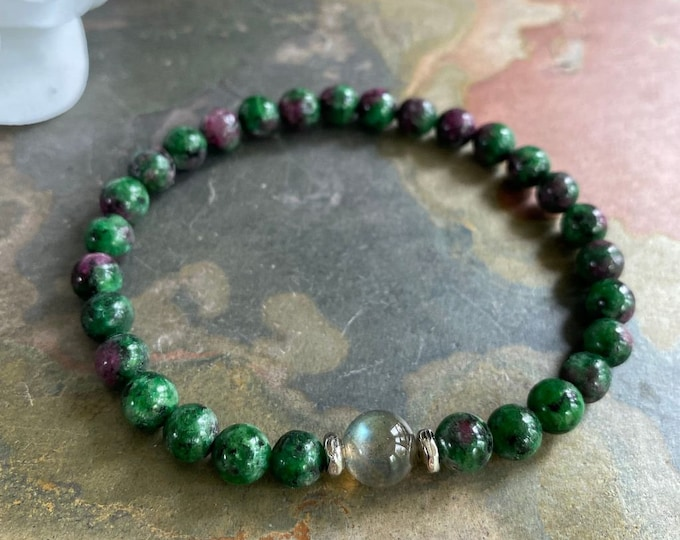 Natural Ruby Zoisite Bracelet,Ruby Zoisite Labradorite Stretch Bracelet,Birthstone Bracelet,Yoga Bracelet, Healing gemstone Bracelet