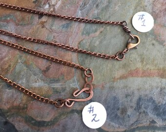 Antiqued Copper Chain, Antiqued copper Finished Curved chain,Choose the Length, Necklace Chain for the Pendant,