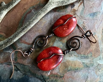 Red Sponge Coral and Turquoise Earrings