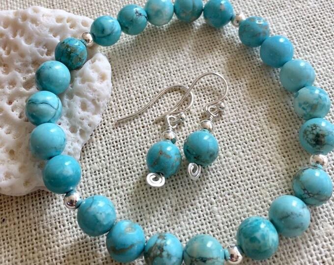 Blue Turquoise Bracelet Adjustable,December Birthstone Bracelet Sterling Silver,Yoga Healing Stretch Bracelet, Turquoise Silver Bracelet