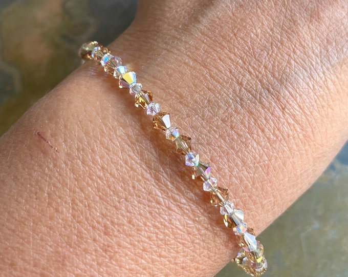 Topaz Crystal Anklet/Bracelet,Wedding/Bridal Crystal Bracelet in Sterling Silver, Swarovski Crystal Bracelet,Topaz Crystal Jewelry,