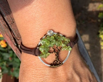 Tree of Life Bracelet in Leather,Peridot Tree of Life Bracelet- Peridot Leather Bracelet, August Birthstone Tree of Life Bracelet