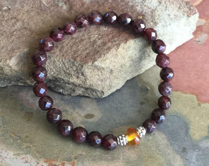 Garnet Bracelet,Garnet Beaded Bracelet,January Birthstone Bracelet,Garnet Elastic /Stretch Bracelet,Garnet /Garnet /Amber Healing gemstone,