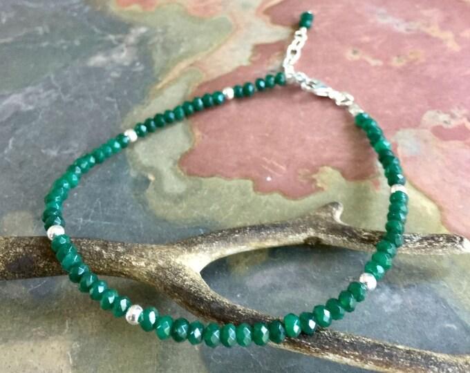 Emerald Bracelet, Emerald Bracelet in Sterling Silver, May Birthstone Bracelet, May Emerald Jewelry, May Birthstone Bracelet
