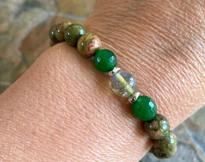 Unakite Jade Labradorite Bracelet, Unakite Jade Healing Stretch bracelet, Unakite gemstone bracelet,Yoga,Healing gemstone  Bracelet