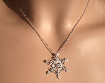 Snowflake necklace in sterling silver,Sterling Silver Cubic Zircornia Snowflake Pendant  ONLY- Holiday Jewelry, Winter snowflake Necklace
