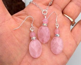 Rose Quartz Necklace, Pink Rose Quartz Earrings in Sterling silver, Rose quartz Dangling Earrings, Rose Quartz in Sterling Silver Necklace