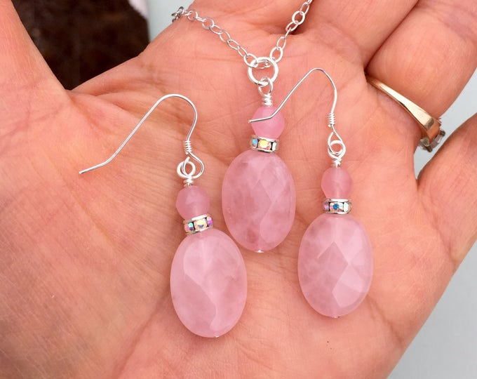 Rose Quartz Necklace, Pink Rose Quartz Earrings in Sterling silver, Rose quartz Dangling Earrings, Rose Quartz in Sterling Silver Necklace