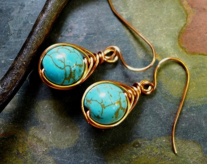 Wire Wrapped Earrings, Wire Wrapped Blue Howlite Turquoise Herringbone Earrings,Turquoise Danging Earrings in Copper,
