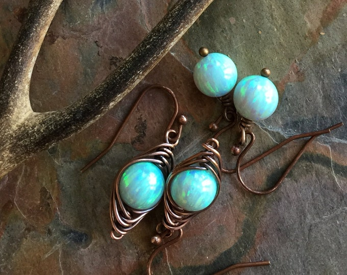 Aqua Blue Opal Earrings Antiqued Copper,October Opal Birthstone, Simulated Opal Earrings, Opal Bracelet,,Synthetic Opal Pendant Necklace