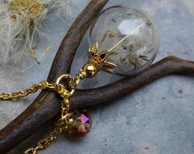 Dandelion Necklace in Gold, Dandelion Earrings in gold,a Wish Gift, Dandelion Jewelry. Bridal/Wedding Jewelry, Globe glass Necklace,