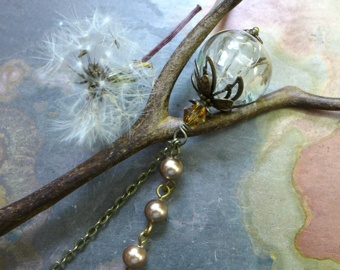 Dandelion Necklace-Dandelion Seed  Flower Bronze Pearl  Brass Necklace ONLY - Make a Wish Gift, Birthday Gift,Graduation Gift