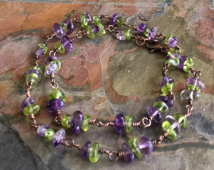Amethyst/Peridot Necklace,Linked Wire Wrapped Amethyst and Peridot in Antiqued Copper,Amethyst Bracelet,Peridot Bracelet,February Jewelry