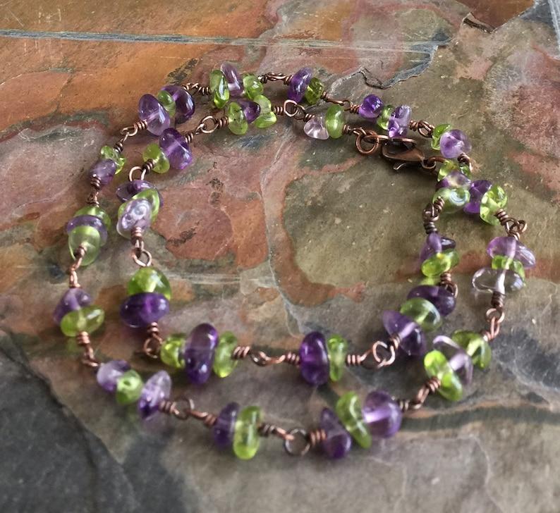 Amethyst/Peridot Bracelet in Sterling SilverLinked Wire image 0