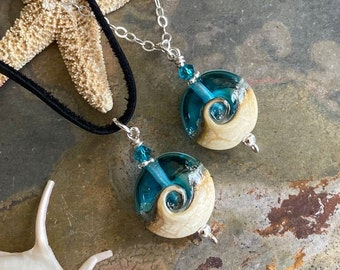 Ocean Wave Necklace in Leather/Sterling Silver,Aqua blue Beach Necklace,Aqua Blue Ocean Wave Necklace,Lampwork Glass Necklace,Wave Necklace,