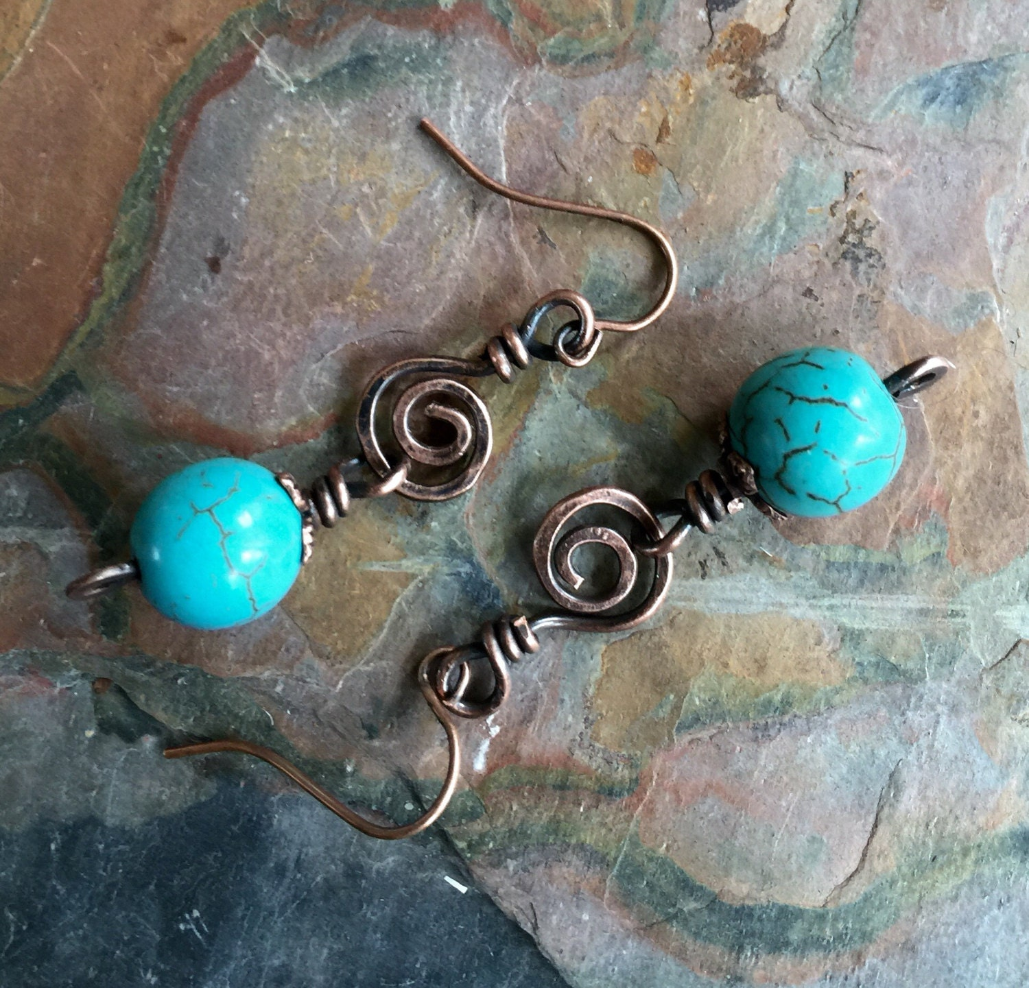 Wire Wrapped Turquoise Copper Earrings, Wired Turquoise Earrings in ...