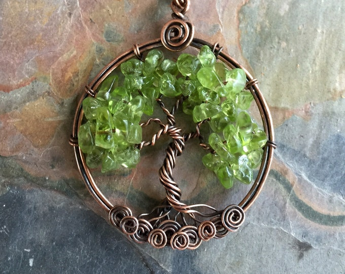 Peridot Tree of Life Pendant Antiqued Copper,Wire Wrapped Peridot Tree of life  Necklace,August Birthstone,Peridot Necklace