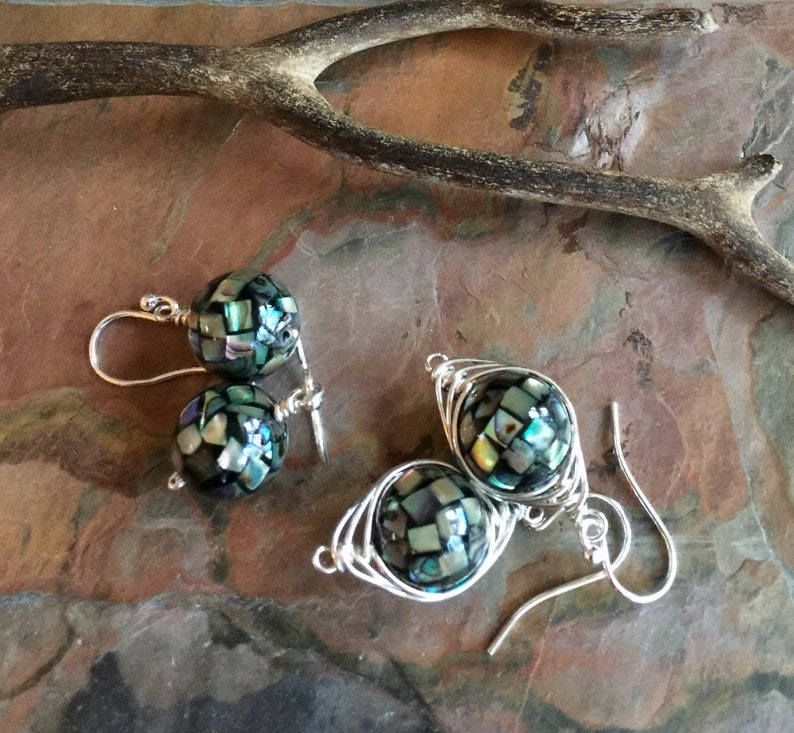 1ddcd8c06 Abalone Earrings Abalone Dangle/Drop Earrings in Sterling   Etsy