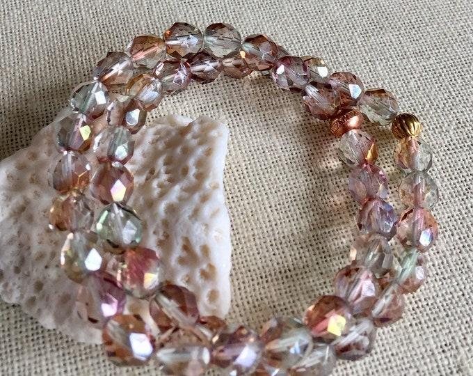Aurora Borealis Bracelet,Wedding/Bridal Crystal /Amethyst Stretch/Adjustable Bracelet,AB Czech Crystal Bracelet,Bridesmaid Crystal Bracelet