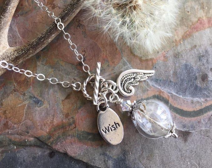 Dandelion Angel wing Wish Charm Necklace,Dandelion Crystal Sterling Silver Lariat Necklace-Wish Necklace, Glass Orb Wish Necklace,