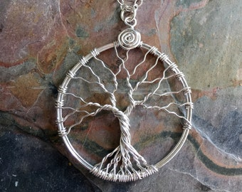 Tree of Life Necklace .925 Sterling Silver,Tree of Life Silver Pendant Necklace,Wire Wrapped Tree of Life Necklace,Tree of Life Jewelry