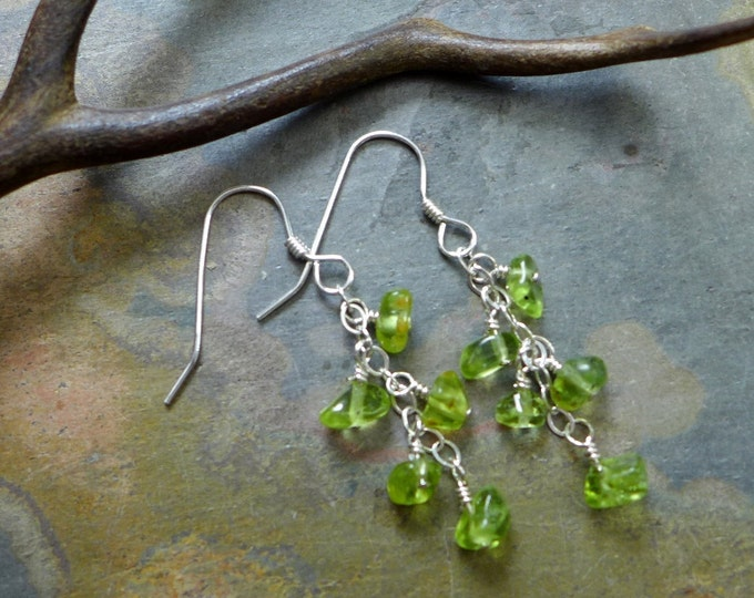 Peridot Earring-Wire Wrapped Peridot Dangling Earrings,Matching Earrings for the Peridot Tree of Life Pendant Necklace - August Birthstone