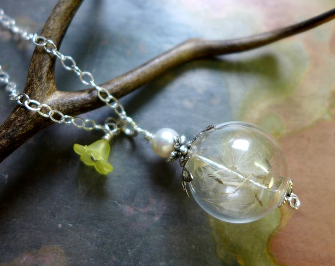 Dandelion Necklace, Dandelion Flower Crystal Necklace, Make a Wish Dandelion, Birthday Gift, Glass Orb Jewelry, Dandelion Jewelry