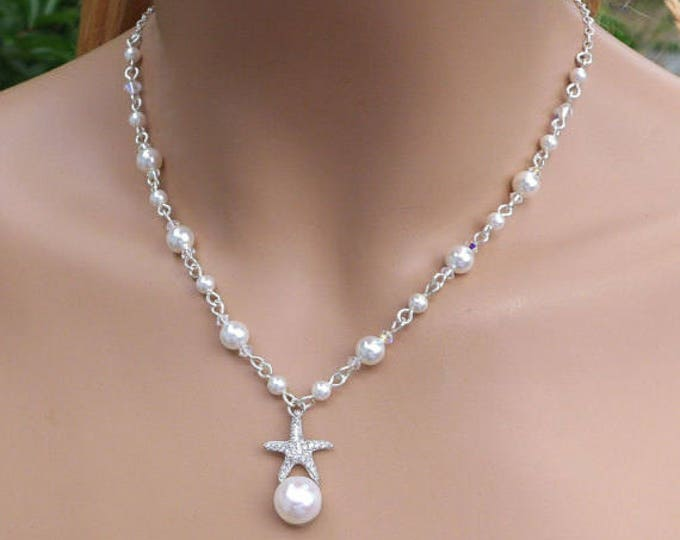 Starfish Pearl Charm Necklace, Beach Theme Crystal Pearl Necklace and  Earring set, Starfish Beach Theme jewelry,Bridal Necklace