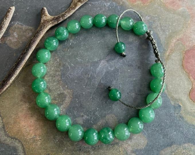 8 mm Jade Bracelet, Green Jade Jadeite Macrame bracelet,Jade gemstone Adjustable bracelet,Yoga Adjustable Macrame Bracelet, Healing gemstone