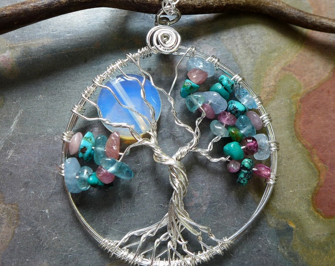 Family / Custom/ Personalized  Moon Tree of Life Necklace, Family Moon Tree of Life Birthstone Pendant, Mothers day Gift, Grandma Gift