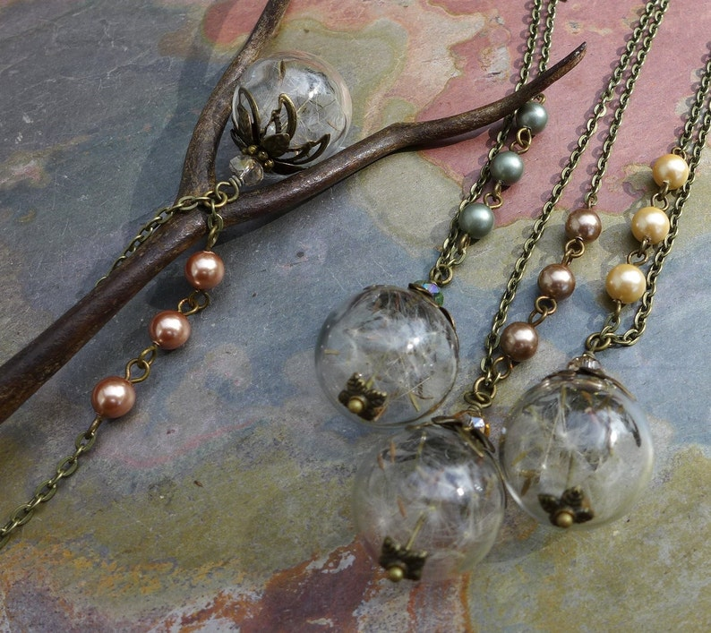 Dandelion Necklace-Real Dandelion Seed Flower Pearl Brass image 0