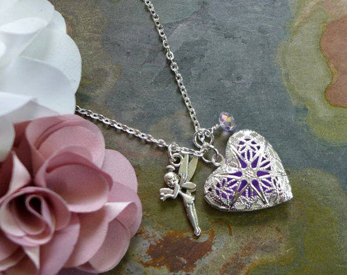 Locket Necklace, Silver Heart Crystal Fairy Charm Aromatherapy Pendant Necklace, Essential Oil Diffuser Pendant Necklace, Heart Necklace,