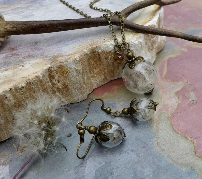 Dandelion Necklace Real Dandelion Seed Flower Bronze Pearl image 0