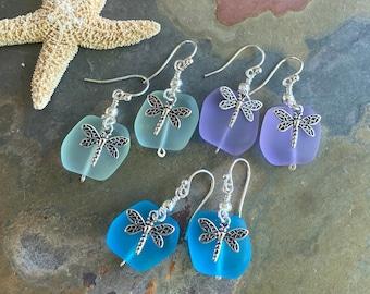 Sterling Silver Sea Glass Dragonfly Earrings,Periwinkle Sea Glass Earrings, Beach Weddings,Blue earring, Green Sea glass Earrings,