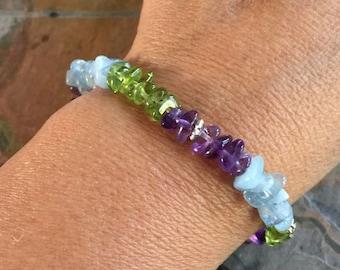 Amethyst,Aquamarine,Peridot Bracelet,Wire Wrapped Amethyst,Aquamarine,Peridot Bracelet,February,March,August Birthstone Bracelet,