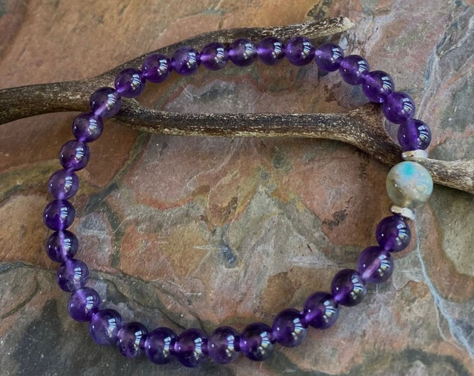 Amethyst Labradorite Bracelet,February Birthstone Bracelet,Purple Amethyst Labradorite Stretch Bracelet,Amethyst Yoga Adjustable Bracelet