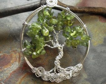 Tree of life Necklace, Peridot Tree of Life Necklace in Sterling Silver,August Birthstone,Green Tree of life Necklace,Christmas Tree of Life