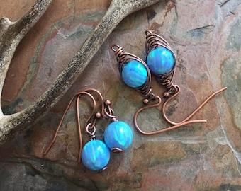 Blue Opal earrings in Antiqued Copper ,Simulated Opal dangling earrings in Copper wire,Synthetic Blue Opal earrings,Mothers Day Gift