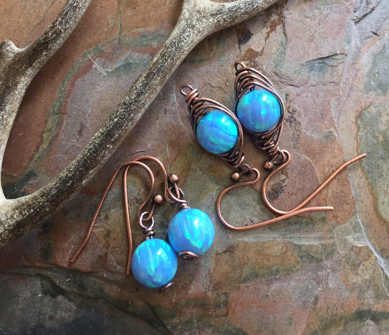 Blue Opal earrings in Antiqued Copper Simulated Opal dangling image 0