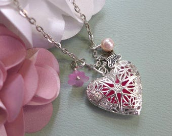 Silver Heart Aromatherapy Necklace, Essential Oil Diffuser Locket Pendant Necklace, Flower & Pearl Silver Heart Locket Pendant Necklace,