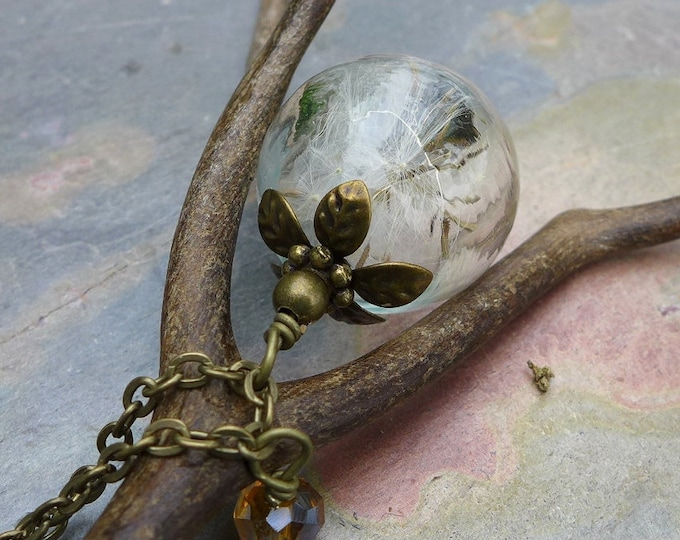 Dandelion Necklace, Real Dandelion Seed Flower Bronze Pearl Brass Necklace ONLY - Wish Jewelry, Glass Jewelry,Make a Wish