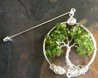 Tree of Life Brooch Pin-Lapel pin- August Gemstone Birthstones,Wire Wrapped Peridot Tree of life Brooch,