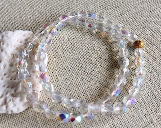 Aurora Borealis Bracelet,Wedding/Bridal Crystal Stretch/Adjustable Bracelet,AB Czech Crystal Bracelet,Bridesmaid Crystal Bracelet