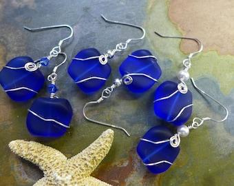 Cobalt Blue Sea Glass Earrings in Sterling Silver, Blue Sea Glass Earrings, Beach Weddings, Blue earrings, Cobalt Sea glass Earrings,