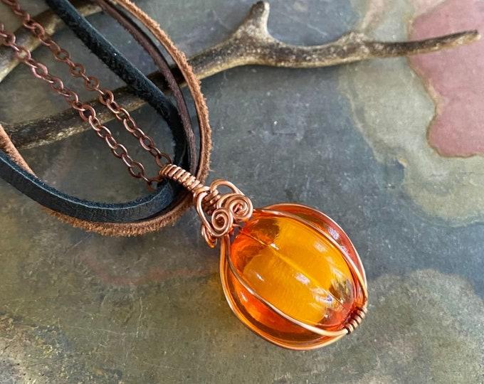 Orange Pumpkin Necklace ,Halloween Necklace in Antiqued Copper, Pumpkin Necklace, Fall/Autumn Harvest Pumpkin Jewelry, Pumpkin Pendant