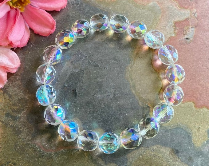 10 mm Aurora Borealis Bracelet,Wedding/Bridal Crystal Stretch/Adjustable Bracelet,AB Czech Crystal Bracelet,Bridesmaid Crystal Bracelet