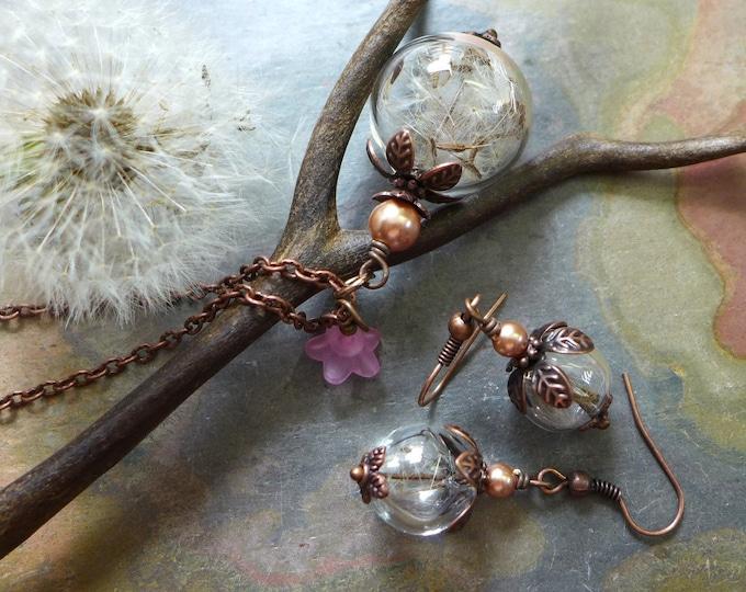 Dandelion Jewelry,Dandelion Seed Flower Pearl Copper Necklace, Dandelion Earrings, Make a Wish Gift,Birthday Gift,Bridal/Bridesmaid Jewelry